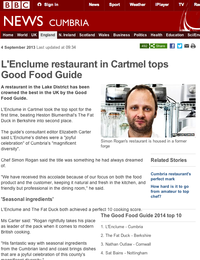 L'Enclume restaurant in Cartmel tops Good Food Guide